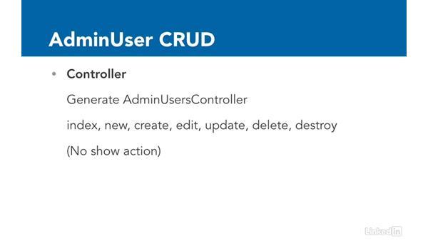 Challenge: AdminUser CRUD: Ruby on Rails 5 Essential Training