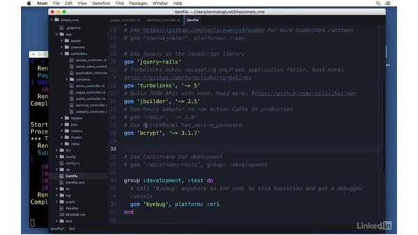 Adding RubyGems: acts_as_list: Ruby on Rails 5 Essential Training