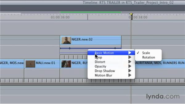 Editing keyframes in the sequence timeline: Final Cut Studio Overview