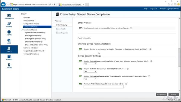 Deploying compliance settings policies: Windows 10: Intune Device Management