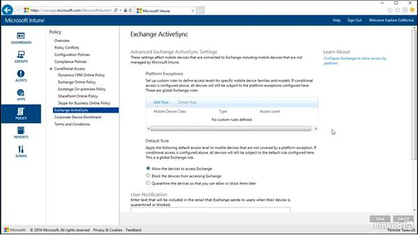Setting Exchange ActiveSync policies: Windows 10: Intune Device Management
