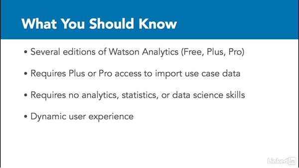 What you should know before watching this course: Watson Analytics Fundamentals