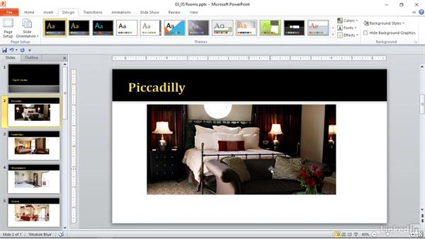 Format slides using themes: PowerPoint 2010: Prepare for the Microsoft Office Specialist Certification Exam (77-883)