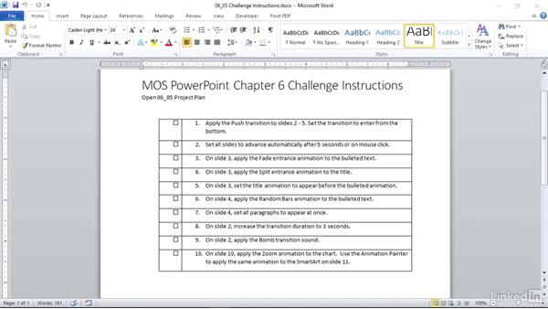 ✓ Challenge: Apply transitions and animations: PowerPoint 2010: Prepare for the Microsoft Office Specialist Certification Exam (77-883)