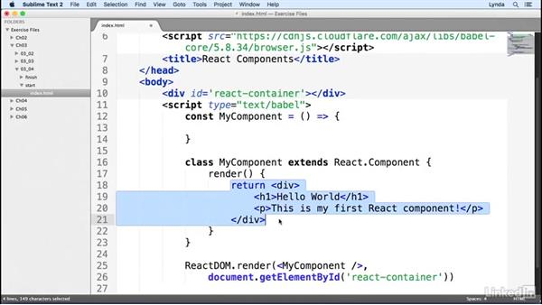 Creating React components as stateless components: Learn React.js: The Basics