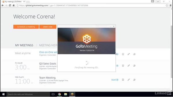 Start a scheduled meeting: GoToMeeting 2016 Essential Training