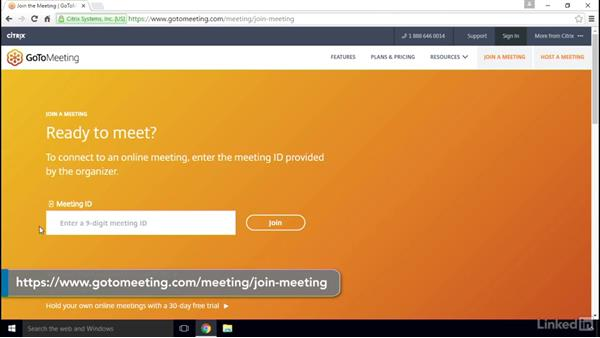 Start an instant meeting using Meet Now: GoToMeeting 2016 Essential Training