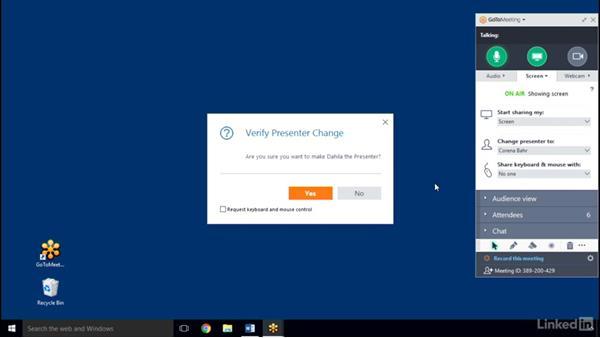 Manage screensharing: GoToMeeting 2016 Essential Training