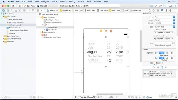 The Date Picker control: iOS 10 App Development Essentials 2: Design a User Interface