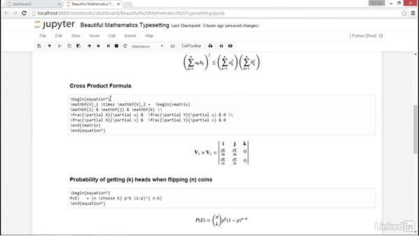Beautiful mathematics typesetting: NumPy Data Science Essential Training