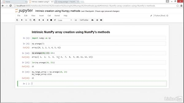Intrinsic creation using NumPy methods: NumPy Data Science Essential Training