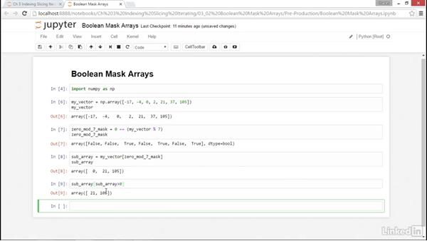 Boolean mask arrays: NumPy Data Science Essential Training