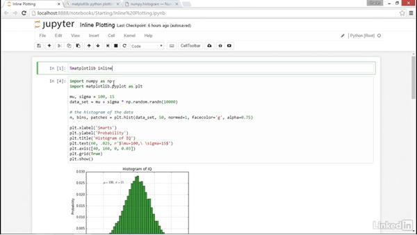 Inline plotting: NumPy Data Science Essential Training