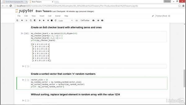 Brain teasers: NumPy Data Science Essential Training