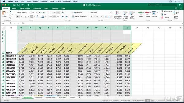 Creating angled text variations for greater variety and readability: Excel for Mac 2016: Advanced Formatting Techniques