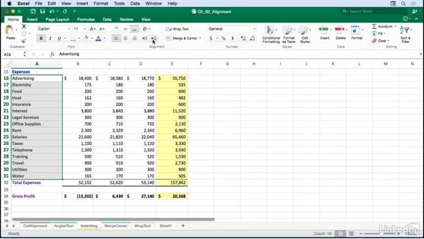 Indenting data and dollar signs: Excel for Mac 2016: Advanced Formatting Techniques