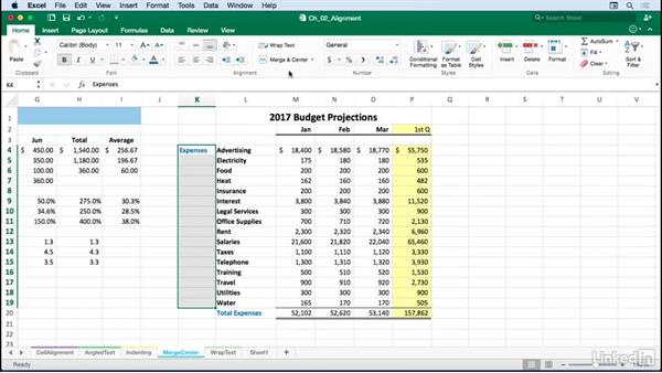 Simplifying title adjustments with the Merge and Center button: Excel for Mac 2016: Advanced Formatting Techniques