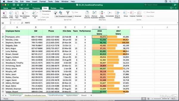 Creating value-based formatting using data bars, color scales, and icons: Excel for Mac 2016: Advanced Formatting Techniques