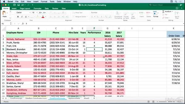 Creating formats based on formulas: Excel for Mac 2016: Advanced Formatting Techniques