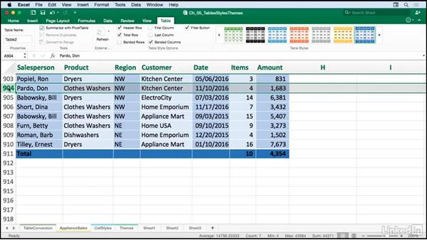 Working with tables: Excel for Mac 2016: Advanced Formatting Techniques