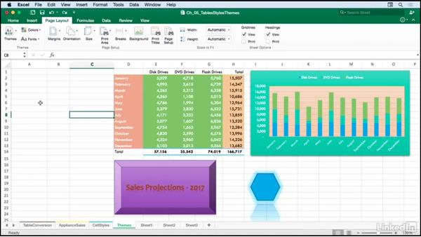 Using styles and themes for consistent formatting: Excel for Mac 2016: Advanced Formatting Techniques