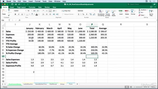 Adjusting single and multiple row heights and column widths without commands: Excel for Mac 2016: Advanced Formatting Techniques