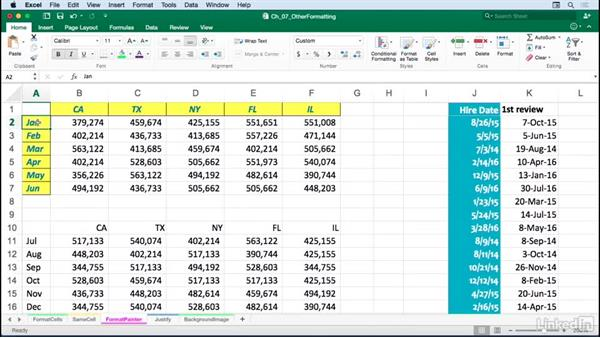 Copying formats quickly with dragging or the Format Painter: Excel for Mac 2016: Advanced Formatting Techniques