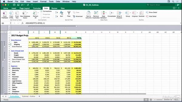 Setting up data for outlining: Excel for Mac 2016: Advanced Formatting Techniques