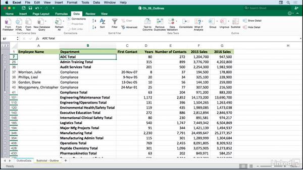 Using outlining symbols and levels: Excel for Mac 2016: Advanced Formatting Techniques