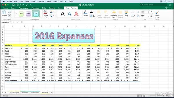 Using WordArt for formatted titles and headings: Excel for Mac 2016: Advanced Formatting Techniques