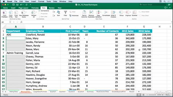 Restoring missing title data in a column: Excel for Mac 2016: Advanced Formatting Techniques