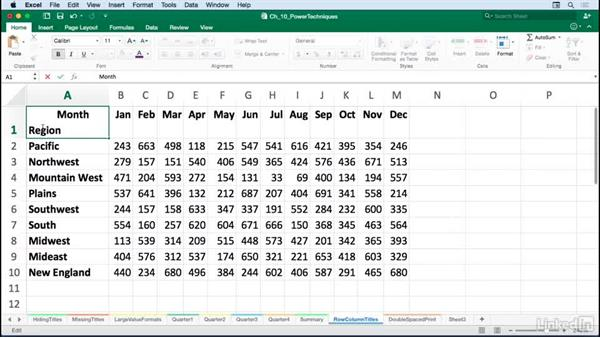 Formatting column/row titles: Excel for Mac 2016: Advanced Formatting Techniques