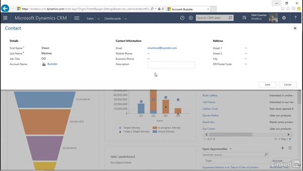 Create, edit, and save a new record: Microsoft Dynamics CRM Essential Training