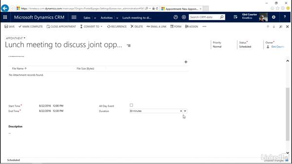 Create and edit appointments: Microsoft Dynamics CRM Essential Training