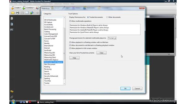 Setting multimedia playback and multimedia trust preferences: Acrobat 9 Pro: Creating Multimedia Projects