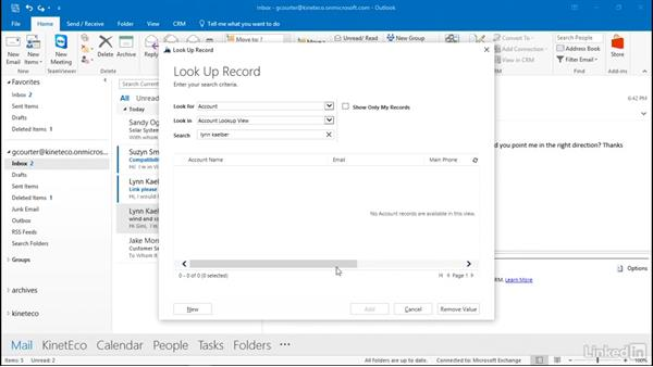Create CRM records from Outlook: Microsoft Dynamics CRM Essential Training
