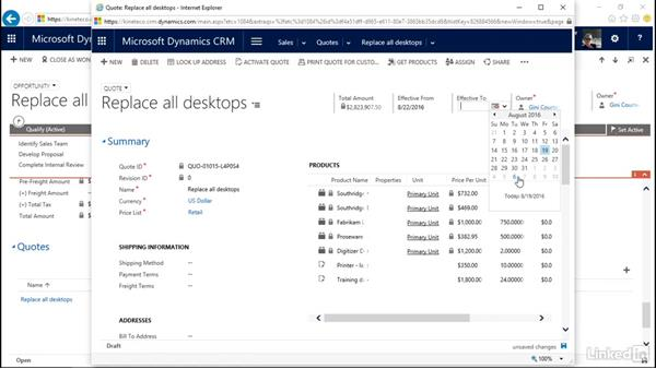 Create a quote: Microsoft Dynamics CRM Essential Training