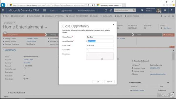 Create an order and mark as won or lost: Microsoft Dynamics CRM Essential Training