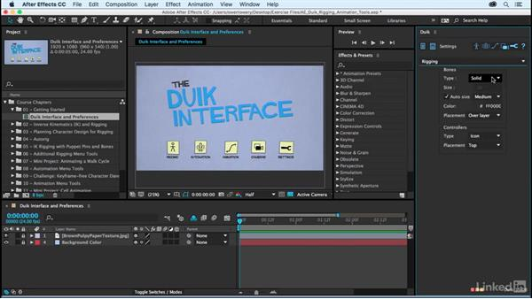 Duik interface and preferences: After Effects Duik Rigging & Animation Tools