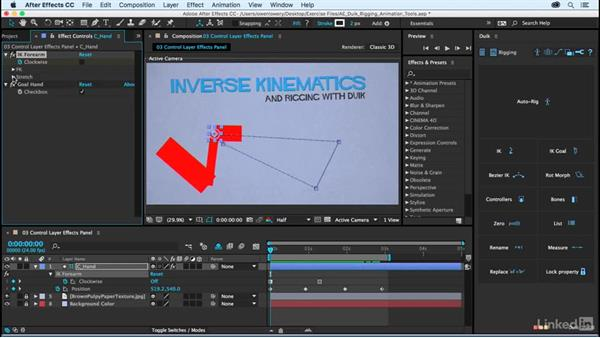 Effects panel options for the IK control layer: After Effects Duik Rigging & Animation Tools