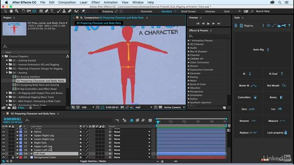Character prep and naming body parts: After Effects Duik Rigging & Animation Tools
