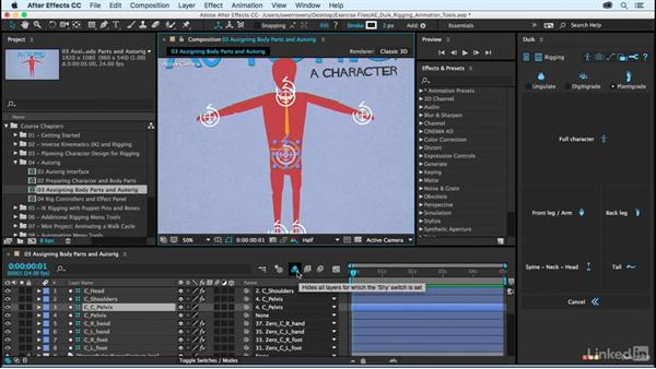 Assigning body parts: After Effects Duik Rigging & Animation Tools