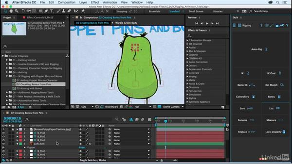 Creating bones from puppet pins: After Effects Duik Rigging & Animation Tools