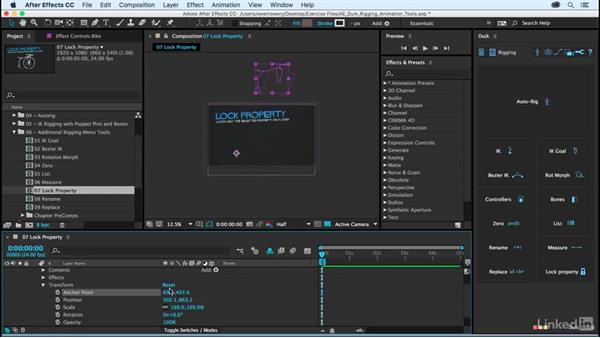 Lock property: After Effects Duik Rigging & Animation Tools