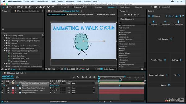 Looping a walk cycle: After Effects Duik Rigging & Animation Tools