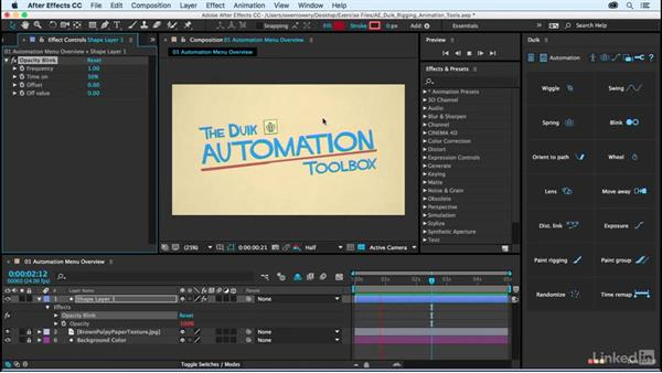 Automation menu overview: After Effects Duik Rigging & Animation Tools