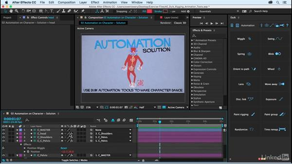 Automation on character rig: Solution: After Effects Duik Rigging & Animation Tools