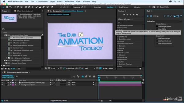 Animation menu overview: After Effects Duik Rigging & Animation Tools
