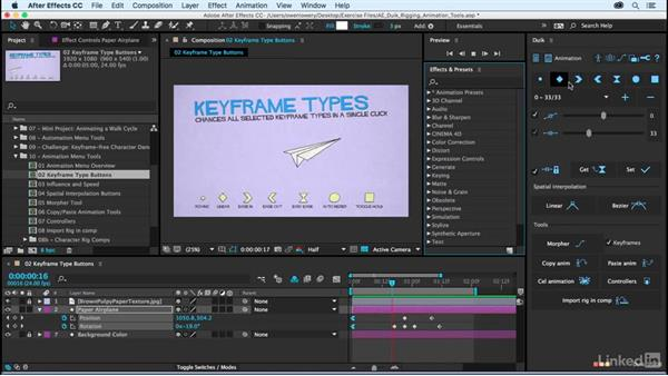 Keyframe type buttons: After Effects Duik Rigging & Animation Tools