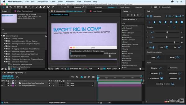 Import rig in comp: After Effects Duik Rigging & Animation Tools